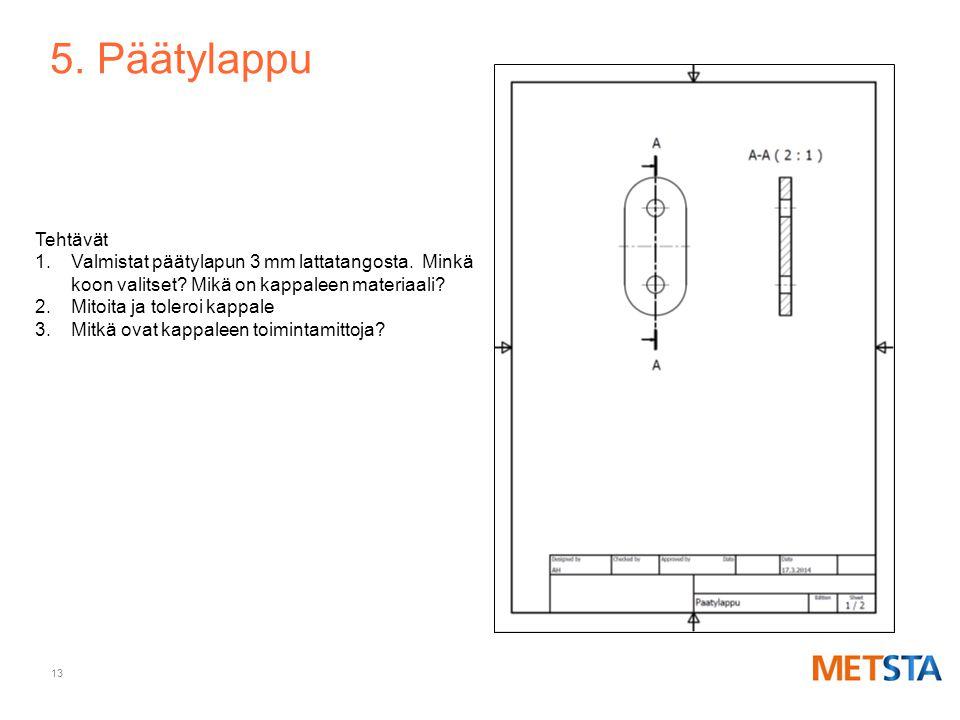 5. Päätylappu Tehtävät. Valmistat päätylapun 3 mm lattatangosta. Minkä koon valitset Mikä on kappaleen materiaali