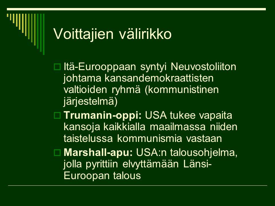 Voittajien välirikko Itä-Eurooppaan syntyi Neuvostoliiton johtama kansandemokraattisten valtioiden ryhmä (kommunistinen järjestelmä)