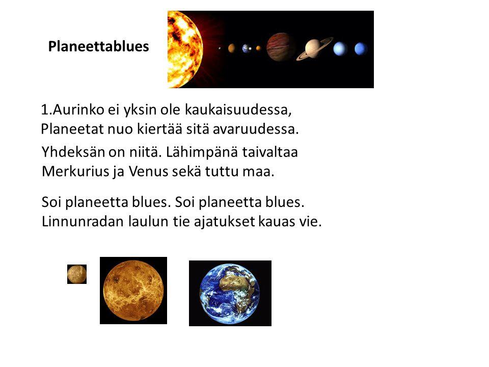 Planeettablues 1.Aurinko ei yksin ole kaukaisuudessa, Planeetat nuo kiertää sitä avaruudessa. Yhdeksän on niitä. Lähimpänä taivaltaa.