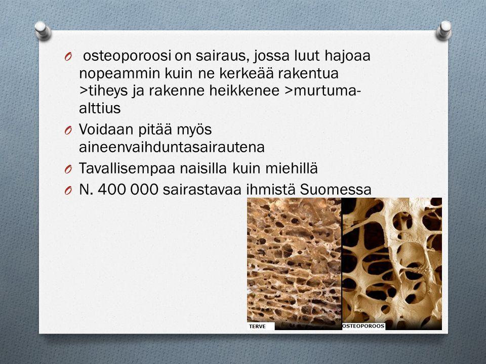 osteoporoosi on sairaus, jossa luut hajoaa nopeammin kuin ne kerkeää rakentua >tiheys ja rakenne heikkenee >murtuma-alttius