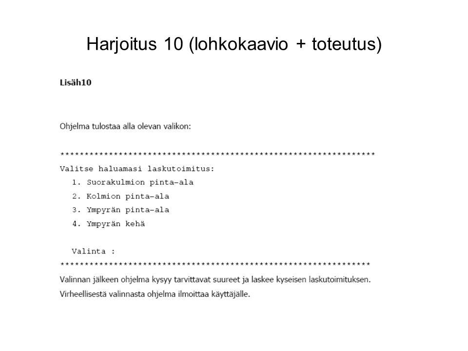 Harjoitus 10 (lohkokaavio + toteutus)