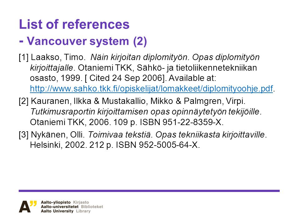List of references - Vancouver system (2)