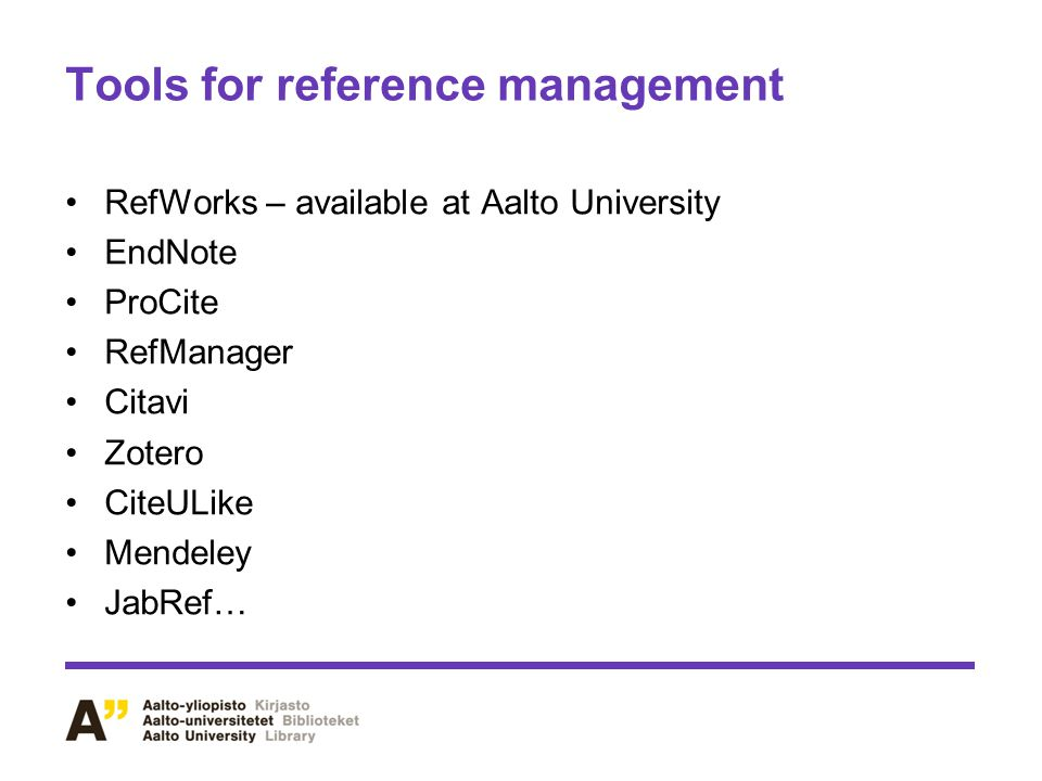 Tools for reference management