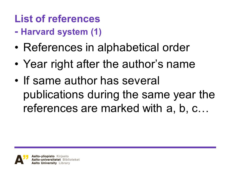List of references - Harvard system (1)
