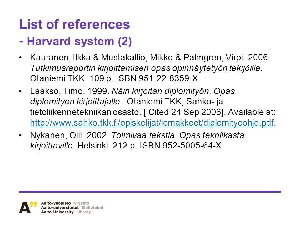 List of references - Harvard system (2)
