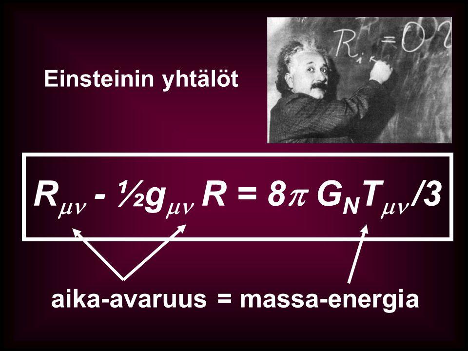 R - ½g R = 8 GNT /3 aika-avaruus = massa-energia