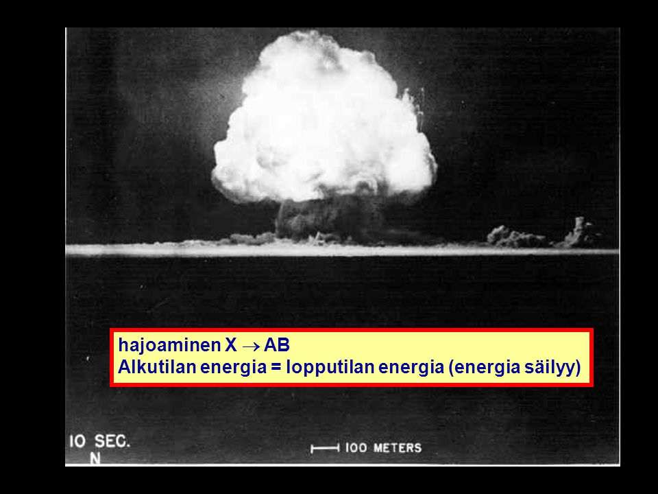 hajoaminen X  AB Alkutilan energia = lopputilan energia (energia säilyy)