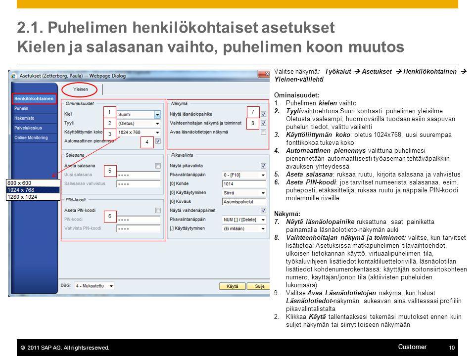 2.1. Puhelimen henkilökohtaiset asetukset Kielen ja salasanan vaihto, puhelimen koon muutos