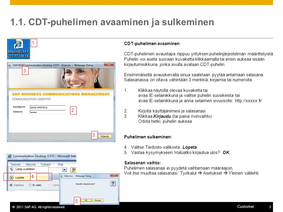 1.1. CDT-puhelimen avaaminen ja sulkeminen