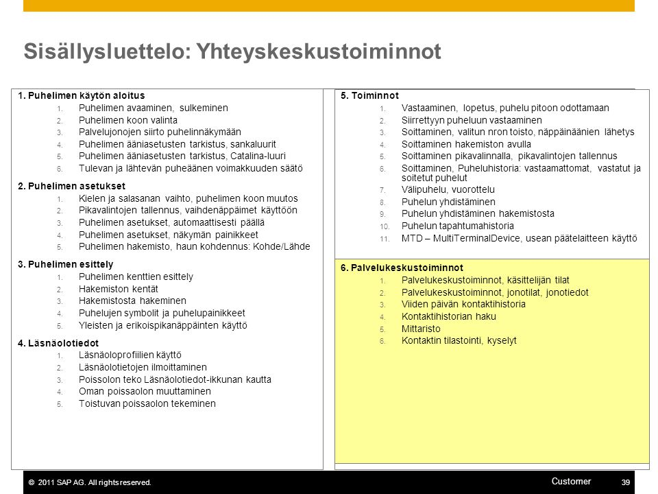 Sisällysluettelo: Yhteyskeskustoiminnot