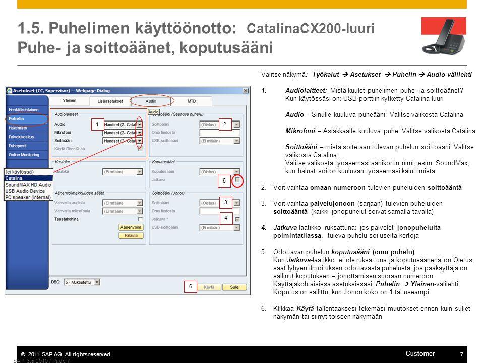 1.5. Puhelimen käyttöönotto: CatalinaCX200-luuri Puhe- ja soittoäänet, koputusääni