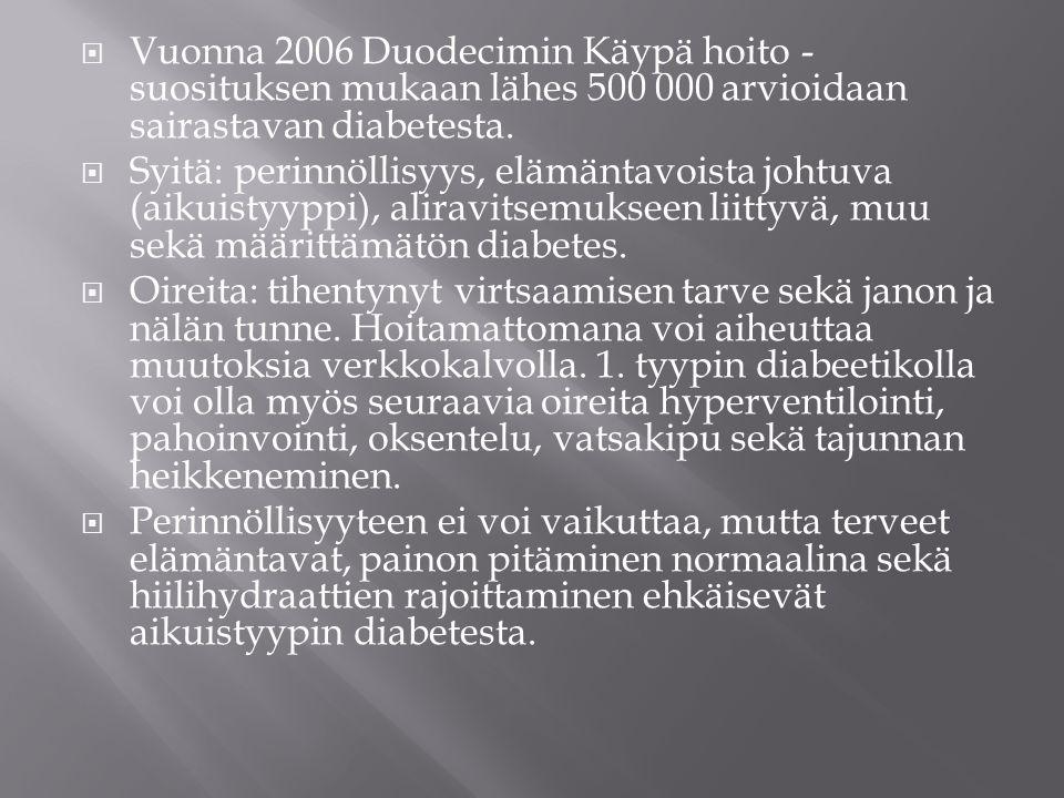 Vuonna 2006 Duodecimin Käypä hoito -suosituksen mukaan lähes 500 000 arvioidaan sairastavan diabetesta.