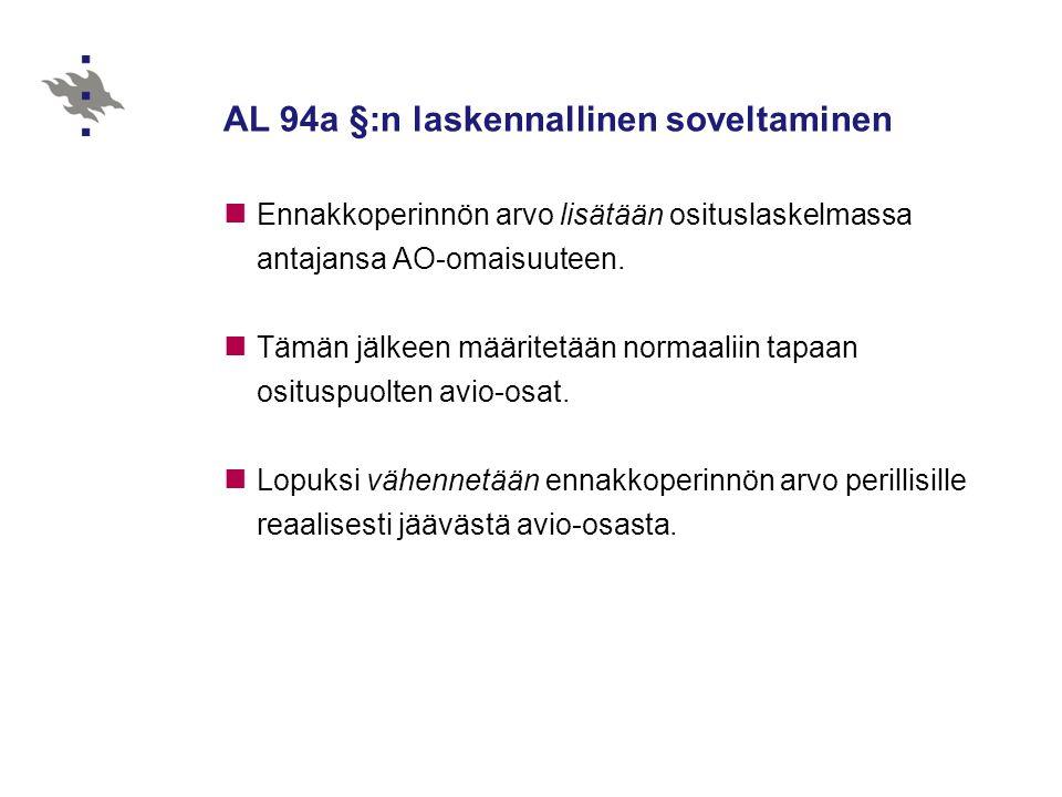 AL 94a §:n laskennallinen soveltaminen