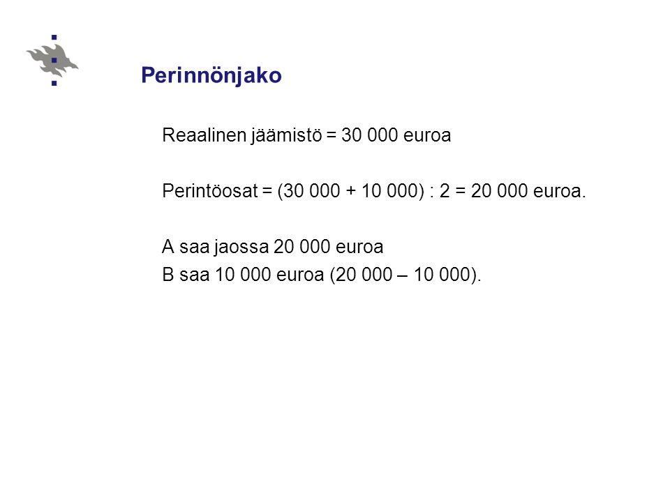 Perinnönjako Reaalinen jäämistö = 30 000 euroa