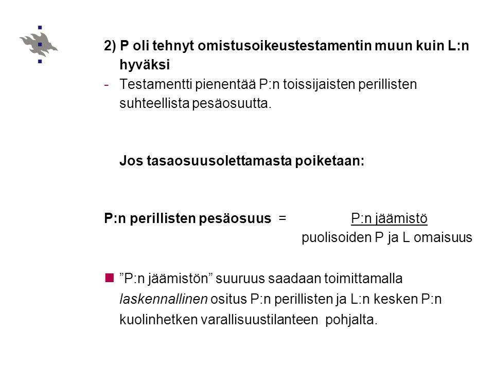 2) P oli tehnyt omistusoikeustestamentin muun kuin L:n hyväksi