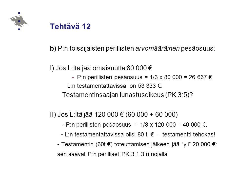 Tehtävä 12 b) P:n toissijaisten perillisten arvomääräinen pesäosuus: