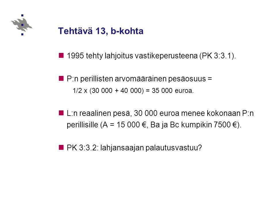 Tehtävä 13, b-kohta 1995 tehty lahjoitus vastikeperusteena (PK 3:3.1).
