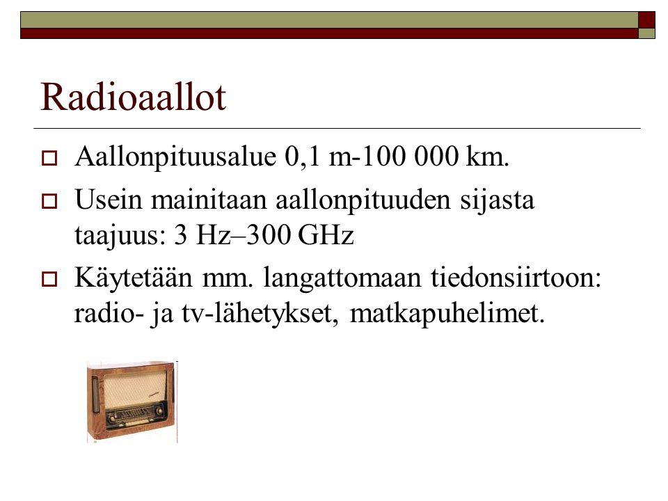 Radioaallot Aallonpituusalue 0,1 m-100 000 km.