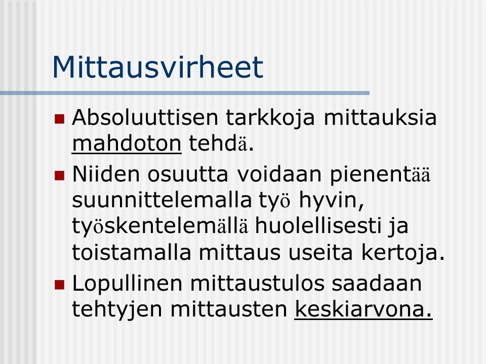 Mittausvirheet Absoluuttisen tarkkoja mittauksia mahdoton tehdä.