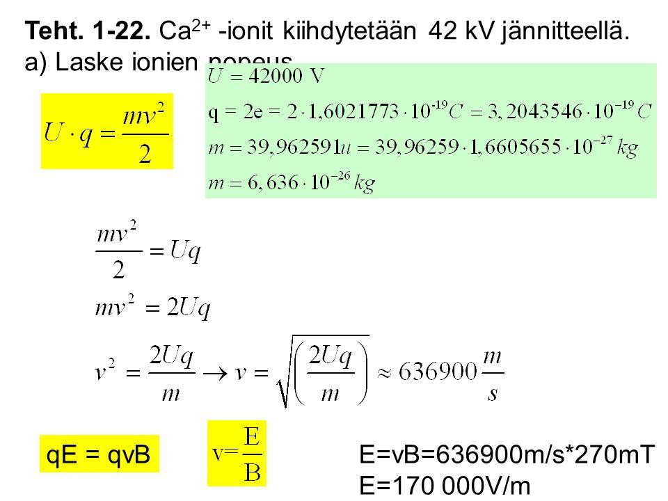 Teht. 1-22. Ca2+ -ionit kiihdytetään 42 kV jännitteellä.