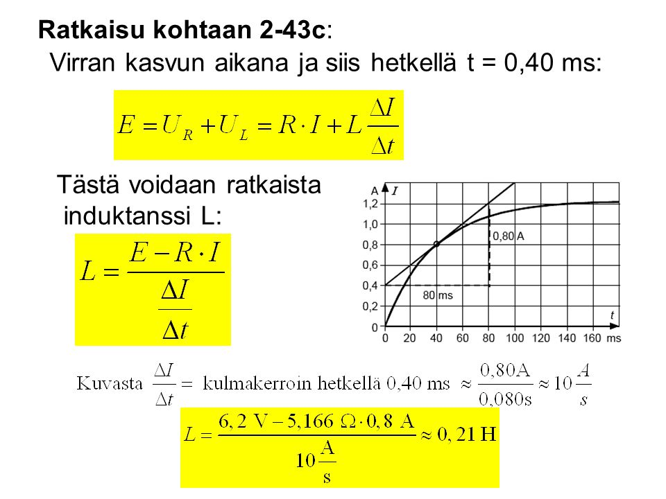 Ratkaisu kohtaan 2-43c: Virran kasvun aikana ja siis hetkellä t = 0,40 ms: Tästä voidaan ratkaista induktanssi L: