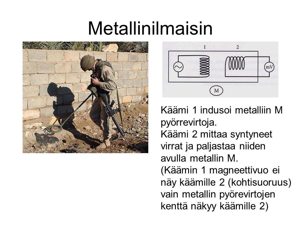 Metallinilmaisin Käämi 1 indusoi metalliin M pyörrevirtoja.