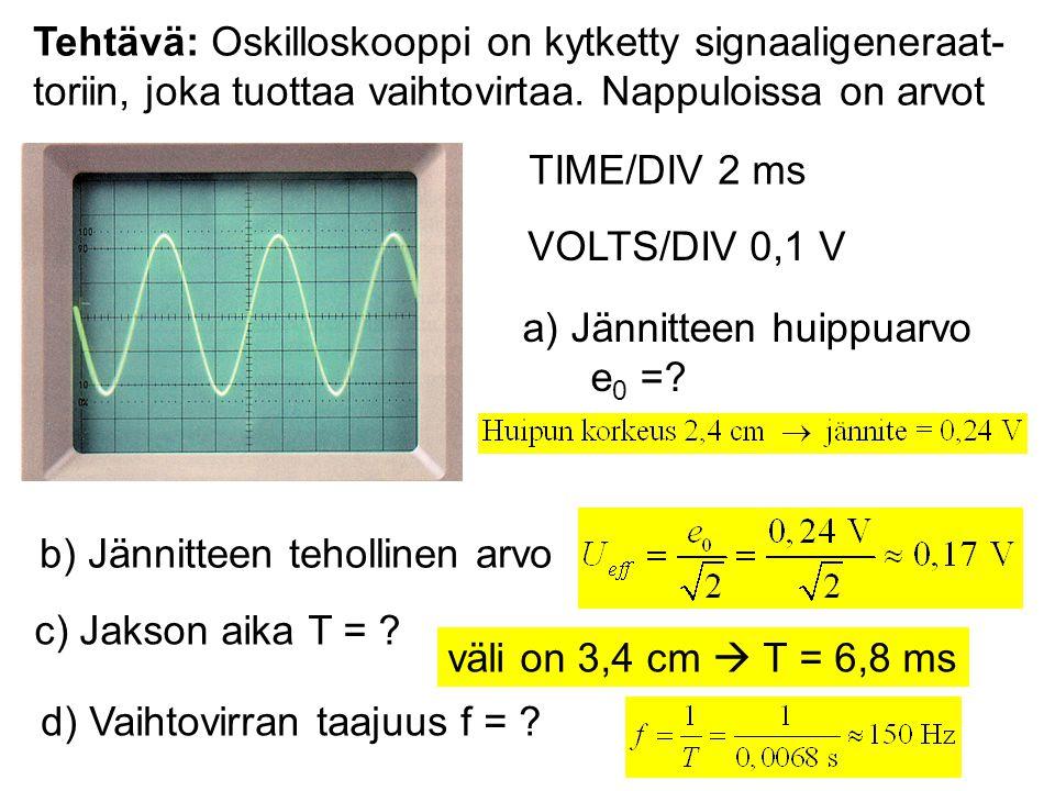 Tehtävä: Oskilloskooppi on kytketty signaaligeneraat- toriin, joka tuottaa vaihtovirtaa. Nappuloissa on arvot