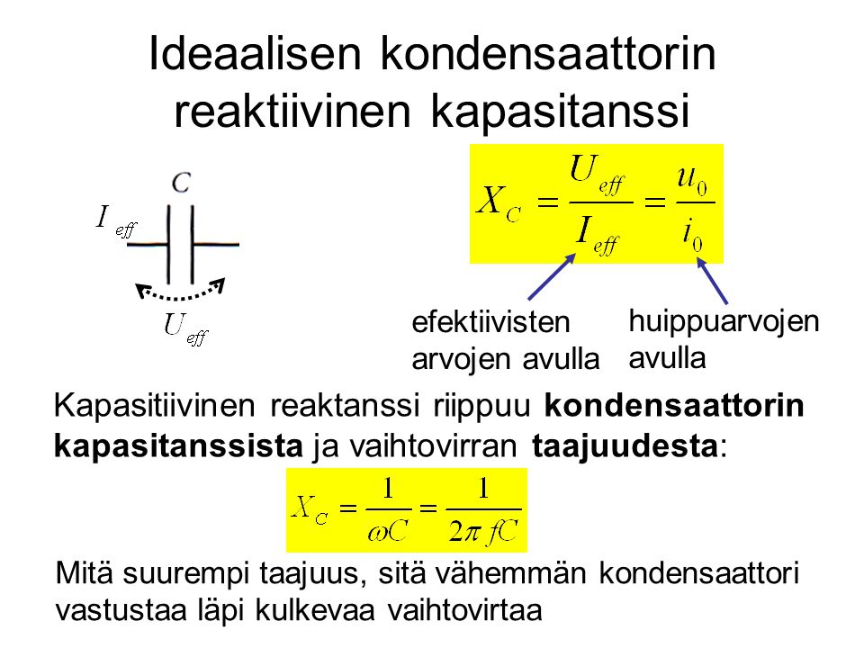 Ideaalisen kondensaattorin reaktiivinen kapasitanssi