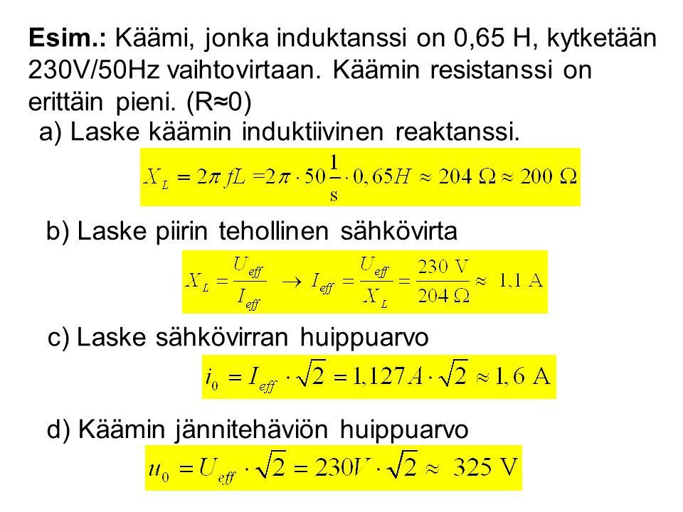 Esim.: Käämi, jonka induktanssi on 0,65 H, kytketään 230V/50Hz vaihtovirtaan. Käämin resistanssi on erittäin pieni. (R≈0)