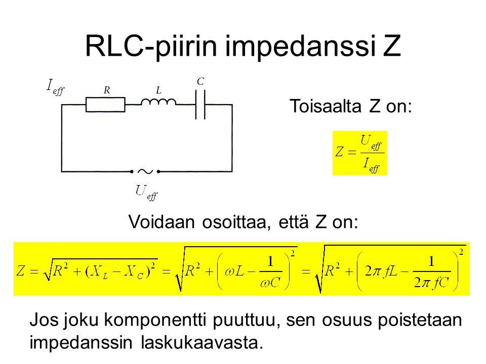 RLC-piirin impedanssi Z