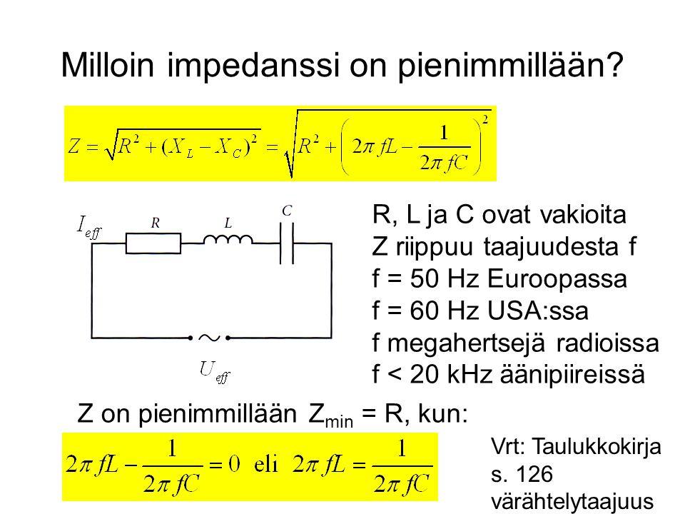 Milloin impedanssi on pienimmillään