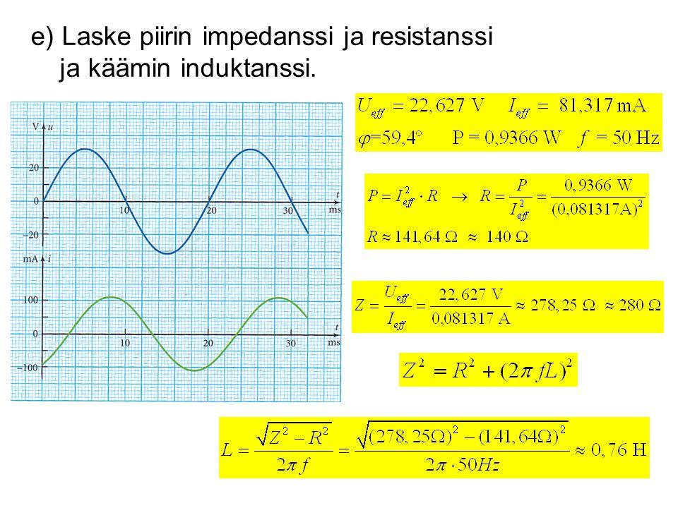 e) Laske piirin impedanssi ja resistanssi ja käämin induktanssi.
