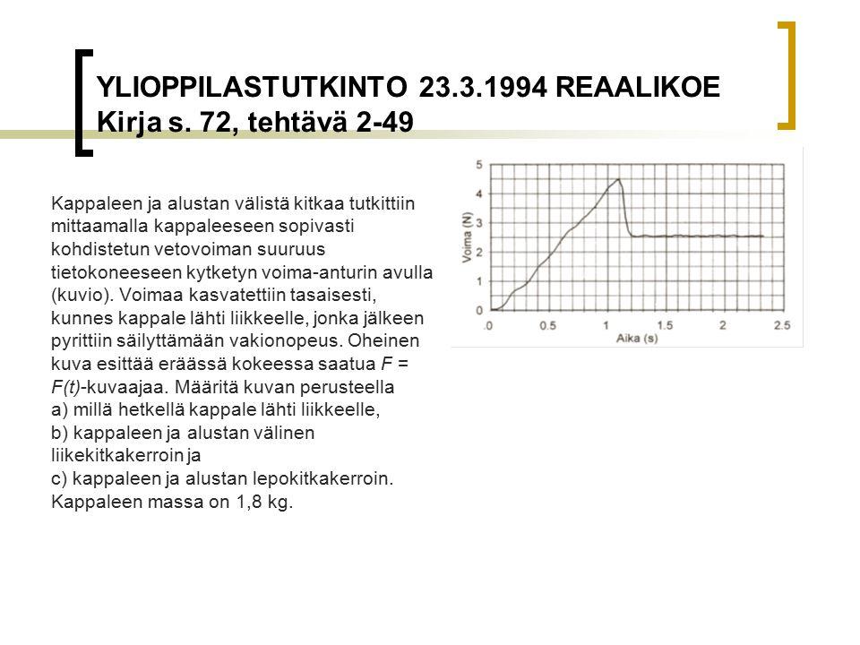 YLIOPPILASTUTKINTO 23.3.1994 REAALIKOE Kirja s. 72, tehtävä 2-49