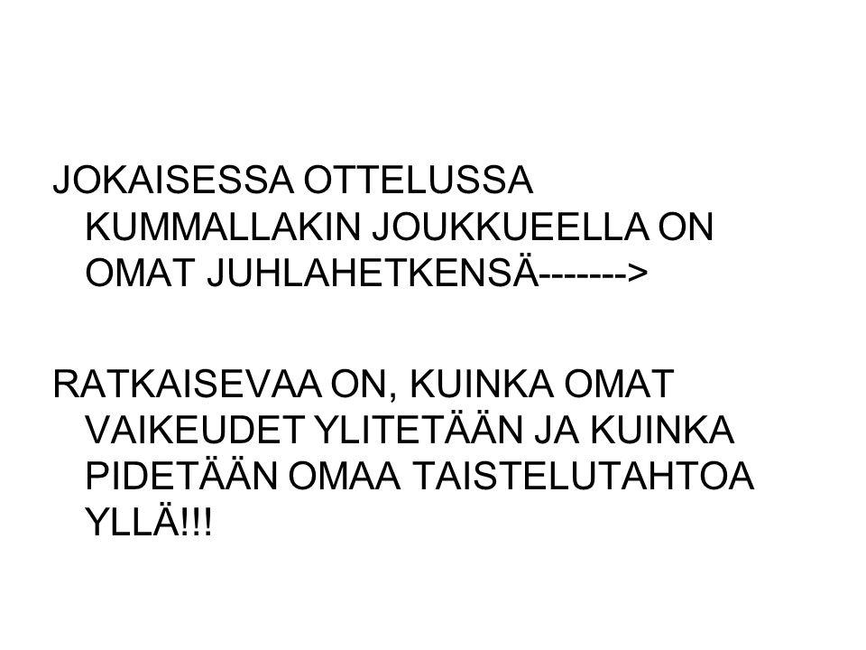 JOKAISESSA OTTELUSSA KUMMALLAKIN JOUKKUEELLA ON OMAT JUHLAHETKENSÄ------->