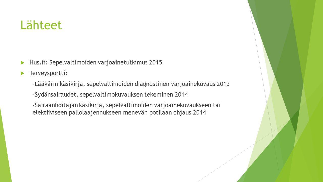 Lähteet Hus.fi: Sepelvaltimoiden varjoainetutkimus 2015 Terveysportti: