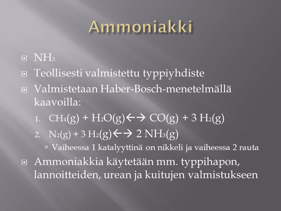 Ammoniakki NH3 Teollisesti valmistettu typpiyhdiste