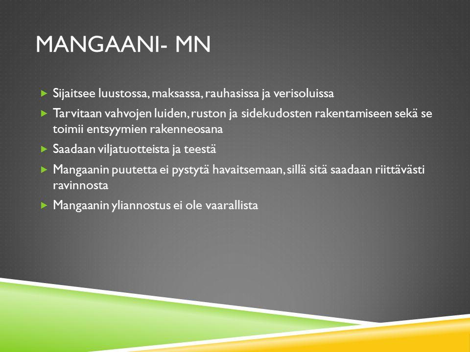 Mangaani- Mn Sijaitsee luustossa, maksassa, rauhasissa ja verisoluissa