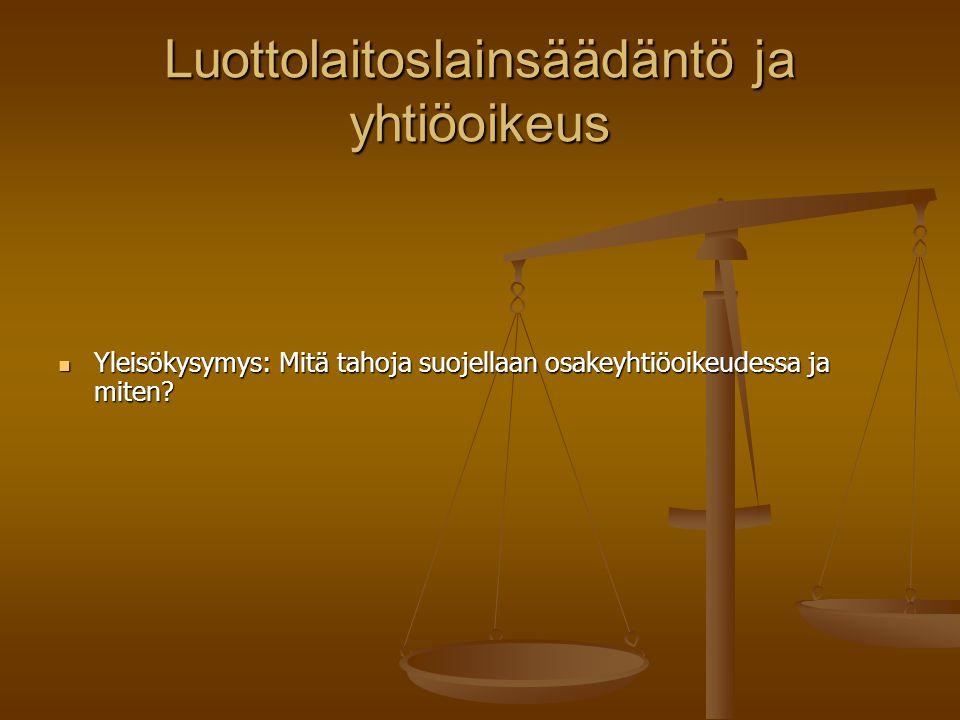 Luottolaitoslainsäädäntö ja yhtiöoikeus