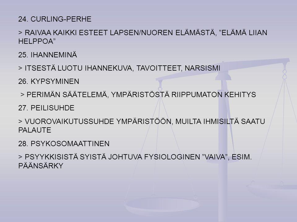 24. CURLING-PERHE > RAIVAA KAIKKI ESTEET LAPSEN/NUOREN ELÄMÄSTÄ, ELÄMÄ LIIAN HELPPOA 25. IHANNEMINÄ.