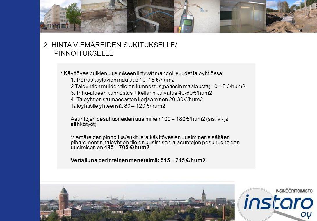 2. HINTA VIEMÄREIDEN SUKITUKSELLE/ PINNOITUKSELLE