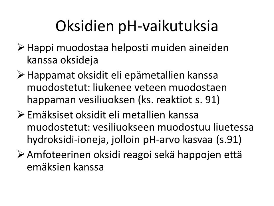 Oksidien pH-vaikutuksia
