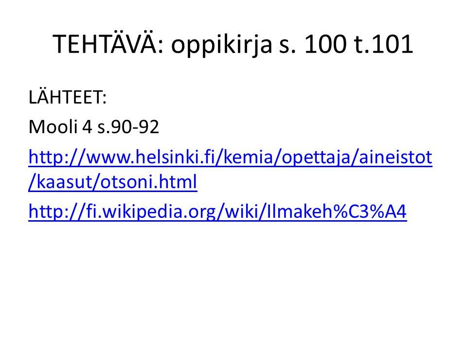 TEHTÄVÄ: oppikirja s. 100 t.101 LÄHTEET: Mooli 4 s.90-92