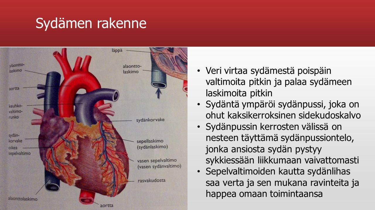 Sydämen rakenne Veri virtaa sydämestä poispäin valtimoita pitkin ja palaa sydämeen laskimoita pitkin.