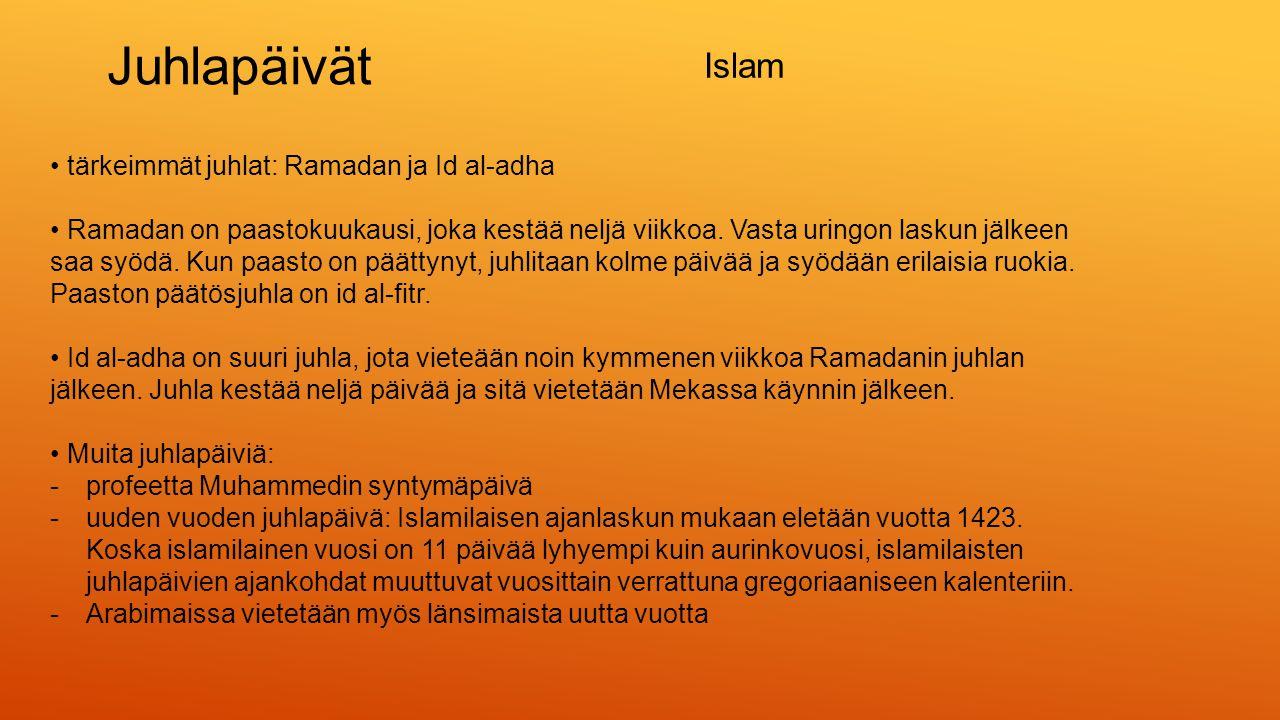 Juhlapäivät Islam • tärkeimmät juhlat: Ramadan ja Id al-adha