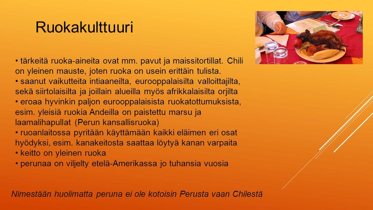 Ruokakulttuuri • tärkeitä ruoka-aineita ovat mm. pavut ja maissitortillat. Chili on yleinen mauste, joten ruoka on usein erittäin tulista.