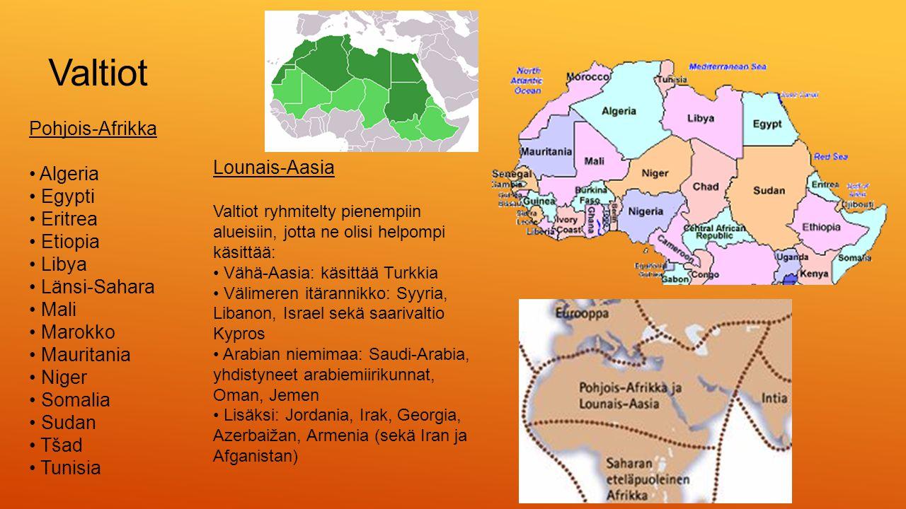 Valtiot Pohjois-Afrikka • Algeria • Egypti Lounais-Aasia • Eritrea