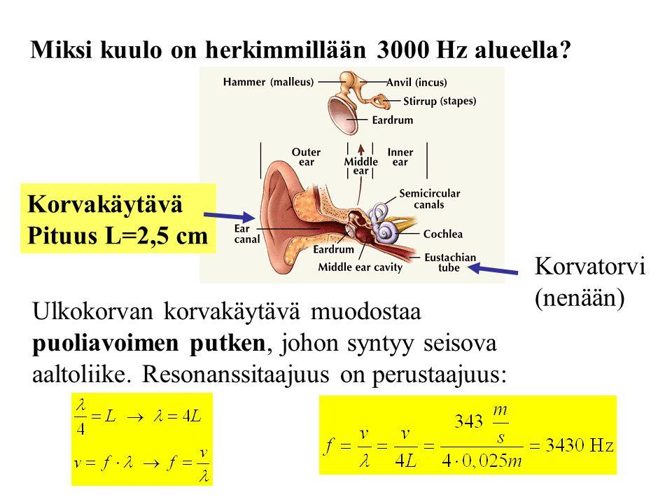 Miksi kuulo on herkimmillään 3000 Hz alueella