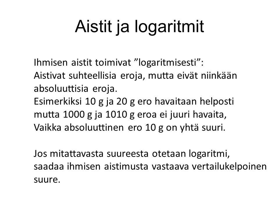 Aistit ja logaritmit Ihmisen aistit toimivat logaritmisesti : Aistivat suhteellisia eroja, mutta eivät niinkään absoluuttisia eroja.