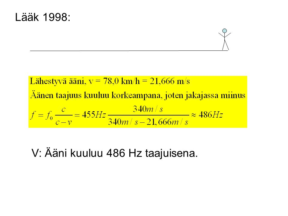 Lääk 1998: V: Ääni kuuluu 486 Hz taajuisena.
