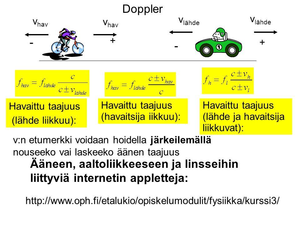 Doppler vlähde. vhav. vlähde. vhav. - + + - Havaittu taajuus (lähde ja havaitsija liikkuvat):